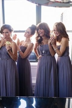 "bridesmaid dresses Who: Donna Morgan What: Bridesmaid Dresses Where: Serving Worldwide Why? You'll See: Vendor Portfolio ""The Donna Morgan brand is as multi-faceted as the woman who wears it. Understanding a woman's need and desire for dresses . Dusty Purple Bridesmaid Dresses, Grey Bridesmaids, Wedding Bridesmaid Dresses, Mod Wedding, Purple Wedding, Dream Wedding, Wedding Things, Wedding Stuff, Bridal Collection"
