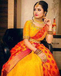 Maggam work in shade of gold! In frame Photography Outfit Style Half Saree Lehenga, Lehenga Saree Design, Lehnga Dress, Saree Look, Lehenga Designs, Sari, Half Saree Designs, Fancy Blouse Designs, Bridal Blouse Designs