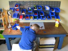 Love this idea to organize legos!  This could be a possibility for a big lego building station