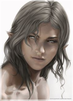 A silver elf. Often grouped with fair elves. Medium to fair skin with a cool undertone; silver hair with a blue, green or purple tint. Light blue, light green, indigo or dark hazel eyes. Sometimes thicker and stronger than other types.