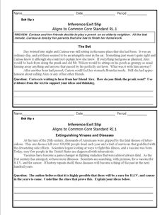 The Lesson Cloud: Middle School Common Core Inference Exit Slips
