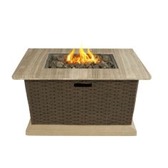 Allen + Roth Somersville W Brown/Tan Composite Propane Gas Fire Table At  Loweu0027s. Create The Warm And Inviting Garden Oasis You Have Always Dreamed  Of With ...