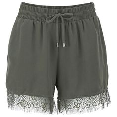 ONLY Women's Miminda Shorts - Gunmetal (6.075 CLP) ❤ liked on Polyvore featuring shorts, bottoms, green, lightweight shorts, elastic waistband shorts, green shorts, lace trim shorts and embellished shorts