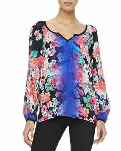 MEZ-CAL OMBRE TOP . FLORAL . •Floral-print georgette with solid trim and ombre stripe. •Split neckline. •Long sleeves; thin barrel cuffs. •Loose silhouette. •Silk.