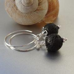Creolen Lava Silber 925 Drop Earrings, Jewelry, Silver Hoop Earrings, Gemstone Beads, Natural Stones, Ear Jewelry, Rhinestones, Jewlery, Bijoux