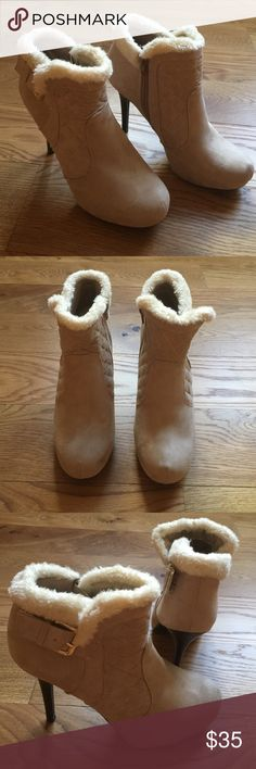 """NWOT Suede Bootie with Faux Fur top Beautiful NWOT Madden Girl Bootie. Faux suede and fur top with side zip and outer gold buckle detail. Platform for a comfortable fit. True size 9. 5"""" heel. Light tan to cream in color. Madden Girl Shoes Ankle Boots & Booties"""