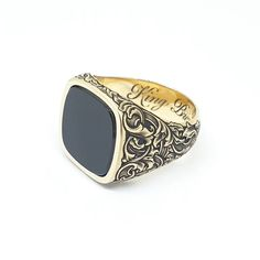 Jewelry OFF! Custom made onyx signet ring yellow gold face bespoke hand engraved scrollwork. By LONDON ENGRAVER Dainty Gold Jewelry, Mens Gold Jewelry, Mens Gold Rings, Men's Jewelry Rings, Men Rings, Cool Rings For Men, Man Jewelry, Jewellery, Mens Gemstone Rings