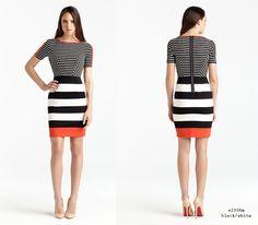 Bold Black & Ivory color block stripes!