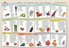 Fruits et légumes de saison : liste de calendriers avec photo ou image d'illustration à imprimer