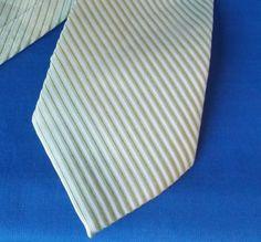 GUCCI-ITALY-Tie-silk-100-green-stripe-Pre-owned