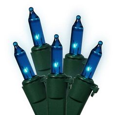Set of 150 Heavy Duty Blue Mini Christmas Lights - Green Wire Connect 6 by Vickerman. $22.99. Set of 150 Heavy Duty Mini Christmas LightsItem #W4G1502Features:Color: blue bulbs / green wireNumber of bulbs on string: 150Bulb size: miniSpacing between each bulb: 4 inchesLighted length: 49.2 feetTotal length: 49.8 feet4 inch lead cord4 inch tail cordAdditional product features:These lights are made to commercial specifications Super bright 2.5 volt bulbsLights are equi...