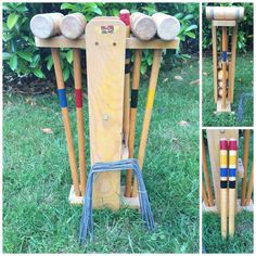 Vintage South Bend compleet 4 speler Croquet Ingesteld, originele doos met instructies, Retro Gazon spel.  Als u op zoek bent naar iets nieuws toe te voegen aan uw buiten partijen dit is voor jou. De volwassenen en kinderen zullen min zulks. Dit is een volledige croquet ingesteld door South Bend. Het komt in de originele doos met instructies.  Omvat:  Vervoerder Originele torn doos Oorspronkelijke gebruiksaanwijzing 4 hamers 4 ballen 2 stakes 12 metalen bogen  Voorwaarde:  De houten drager…