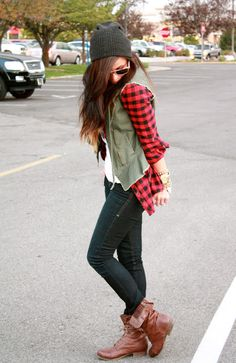 Love the boots! Can't go wrong w/ red and black flannel!