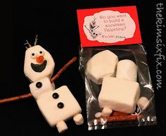 """""""Do You Want to Build A Snowman?"""" Valentine idea with Olaf from Disney's 'Frozen.'  So cute for a 'Frozen', Valentine's Day, or winter themed party!"""
