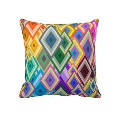 Diamonds Bursting Forth - Double Sided Throw Pillow #throwpillow #pillow #homedecor #retro