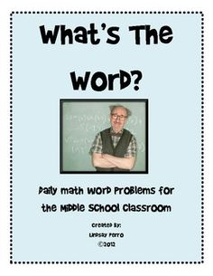 50 math word problems to use in any middle school classroom,not just math classrooms! $4   # Pinterest++ for iPad #