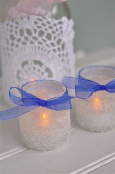 Epsom Salt Covered Baby Food Jars for Votives