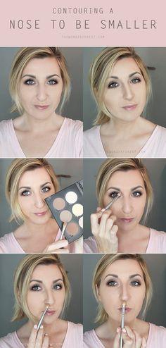How to Contour/Highlight Nose, Contouring Hacks, Tips Nose makeup hacks contouring - Makeup Hacks Makeup Tips Contouring, Nose Contouring, Contour Makeup, Contouring And Highlighting, Makeup Hacks, Makeup Ideas, Makeup Tutorials, How To Contour Nose, Hair Tutorials