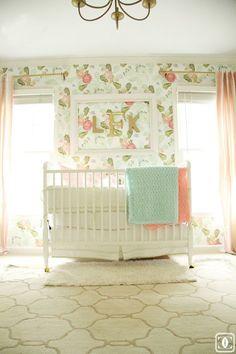 nursery, girl nursery, glam, anthropologie wallpaper, floral wallpaper