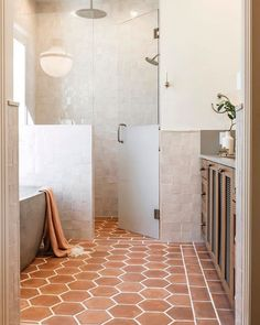 Native Trails Avalon concrete bathtub in earthy bathroom designed by Emily Seeds Interiors
