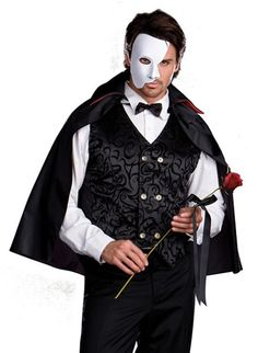 men's masquerade costume, possibly inspired just a little bit by the phantom of the opera.  ; )  Dreamgirl Mysterious Phantom Adult Costume    #Masquerade #Mask #Phantom #PhantomoftheOpera