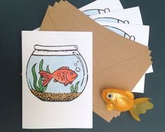 Pack of 4 Fish Bowl Cards, Greeting Cards, Pack of Note Cards, Invites, Linocut Blank Notelets, Lino Print, Fish Tank, Aquarium