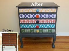 Decorating with Mod Podge: Collection Chest Makeover with Cathie and Steve. Great use for scrapbook paper!