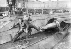 German submarine U-9 loading torpedoes.