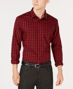 8eb55b3d Alfani Men's Regular Fit Lewis Plaid Shirt, Created for Macy's - Black 3XL  Casual Button