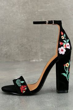 Be unstoppable in the Suri Black Embroidered Ankle Strap Heels! These stunning heels have a vegan suede peep-toe upper, and matching heel cup with adjustable ankle strap (and gold buckle). Red, green, pink, and yellow floral embroidery completes this bold High Heels Boots, Lace Up Heels, Ankle Strap Heels, Ankle Straps, Suede Heels, Shoe Boots, Black Heels, Floral Heels, Black Suede