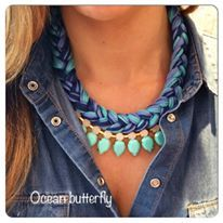 """Ocean Butterfly"" statement necklace turqoise navy blue"