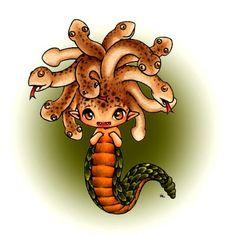 Cute little cartoon Medusa