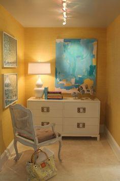 Designer Eileen Kathryn Boyd featured Juicy Jute Grasscloth 4822 Meyer Lemon & Manila Hemp 5201 White in Pool Room of the 2011 Hamptons Designer Showhouse.
