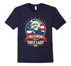 Trump and Clinton Halloween Costumes - Choose Edgy or Funny - Men's Bill for First Lady Hillary T-Shirt Navy