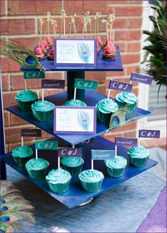 """Pinner wrote: """"The peacock-inspired color palette has always been a personal favorite for me – especially when it comes to holiday parties (see proof here and here). So of course I was instantly smitten by this gorgeous Peacock Themed Engagement Party styled by the talented Courtney of Pizzazzerie!"""""""