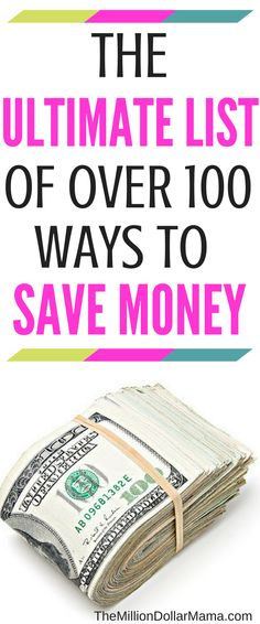Easy ways to save money - this mega list has over 100 ways to save money on everything from groceries to entertainment to bills to vacations!