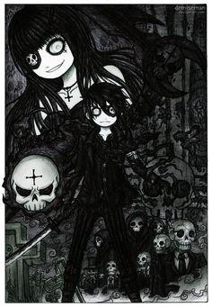 long time not draw her with Kraven, hope you like it! ---------- Nikolaievna (The Night Scythe) & Kraven Krauss, © me ------------------------------. The Night Scythe Terror Creepy Drawings, Dark Drawings, Creepy Art, Emo Art, Goth Art, Creepy Pictures, Art Pictures, Emo Cartoons, Arte Emo