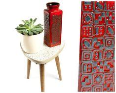 Carstens vase, ceramic vase, red vase, 60s vase, West German pottery, mid century modern, retro decor, modern vase, vintage flower vase