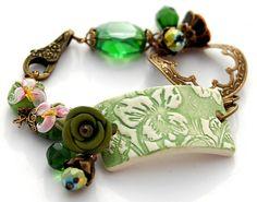 Green Ceramic Brass Bracelet Ornate Charm by shalayneoriginals, $79.00