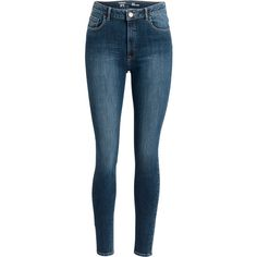 Slim high waist jeans ($47) ❤ liked on Polyvore featuring jeans, calça, pantalones, pants, high waisted stretch jeans, high-waisted jeans, high rise jeans, highwaist jeans and stretch blue jeans