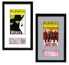Playbill and Broadway Theatre Ticket Display Frame