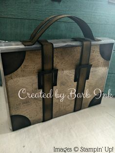 Stampin Up suitcase using postscript and Subtle embossing folder