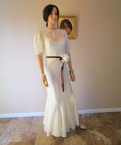 30s Bias Cut Evening Dress. White Silk Jean Harlow Dress. Old Hollywood Glamour Gown. Vintage Bespoke Wedding Gown. Unique Painted Dress XXS
