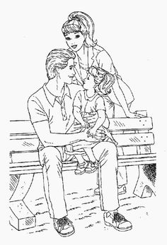 Family Sitting On Bench Park Coloring Page : Coloring Sky Family Coloring Pages, Online Coloring, Bench, Sky, Park, Drawings, Heaven, Heavens, Parks