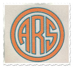 Textured Circle 3 Letter Monogram With Outline Machine Embroidery Font Alphabet - 3 Sizes