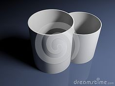 A white vase made with two cylinders intersecting - 3D rendering illustration