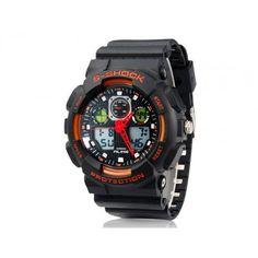AK1055 Rodada Dial cols.35 Movimento 50M impermeável relógio de mergulho de pulso com pulseira de borracha TPU & Red Pointer (Laranja) M.