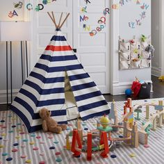 Modern Nautical Teepee and Cushion Set | The Land of Nod