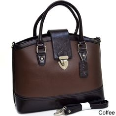 Simple and chic, this two-tone satchel bag will look great with your casual attire. This tall handbag can fit your belongings, such as daily necessities and tablet devices. A flap over magnetic snap ensures that everything inside is secure.
