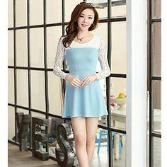 QIQI Fashion Lace Long Sleeve Slimming Dress – BRL R$ 49,97